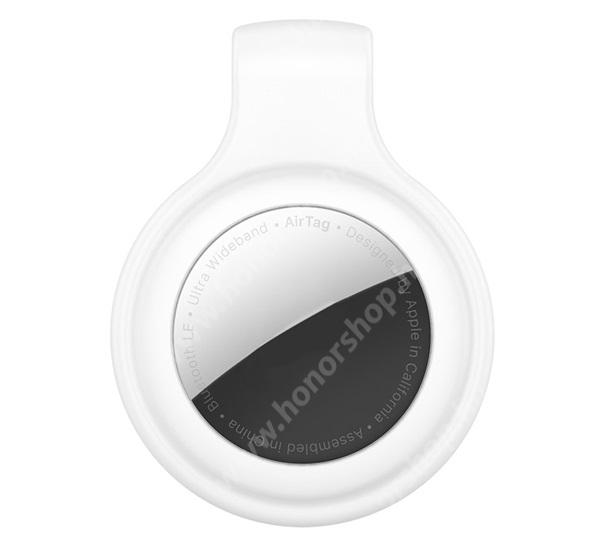 Szilikon védő tok Apple AirTag-hez - övre csiptethető - FEHÉR