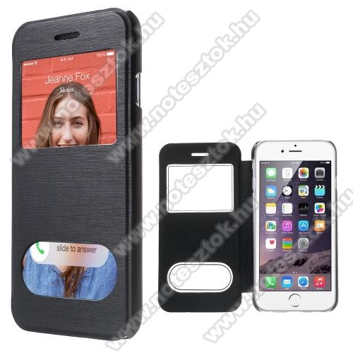APPLE iPhone 6Szilikon védő tok / átlátszó hátlap - oldalra nyíló S-View Cover flip, hívásfelvételhez és kijelzéshez kivágás - FEKETE - APPLE iPhone 6