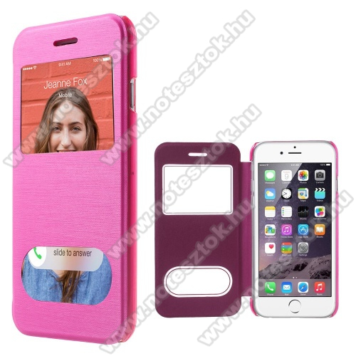 APPLE iPhone 6Szilikon védő tok / átlátszó hátlap - oldalra nyíló S-View Cover flip, hívásfelvételhez és kijelzéshez kivágás - RÓZSASZÍN - APPLE iPhone 6