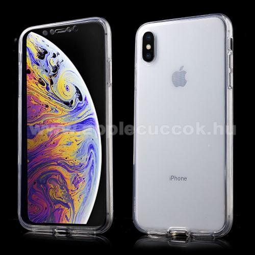 Szilikon védő tok - előlap és hátlap védő is! - FÉNYES - ÁTLÁTSZÓ - APPLE iPhone XS Max