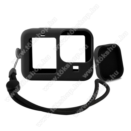 Szilikon védő tok GoPro Hero 9-hez - csuklópánt, lencsevédő kupak - FEKETE