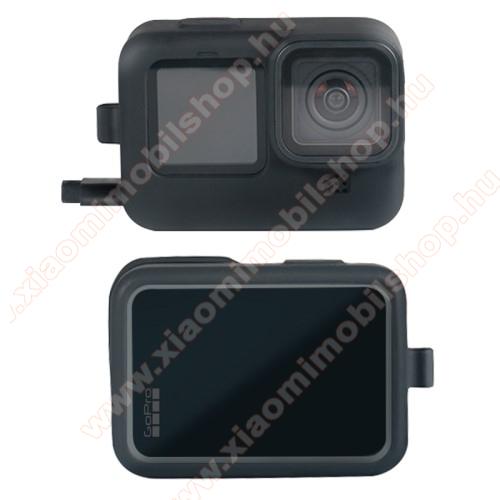 Szilikon védő tok GoPro Hero 9-hez - csuklópánt / nyakpánt - FEKETE