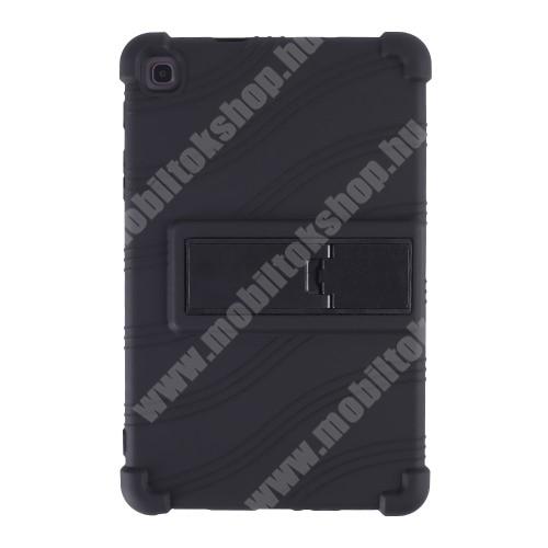 Szilikon védő tok / hátlap - asztali tartó funkciós, erősített sarkok - ERŐS VÉDELEM! - FEKETE - SAMSUNG Galaxy Tab A7 Lite (SM-T220 / SM-T225)