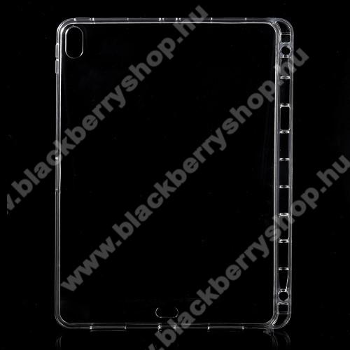Szilikon védő tok / hátlap - ÁTLÁTSZÓ - ceruzatartóval - APPLE iPad Pro 11 (2018)