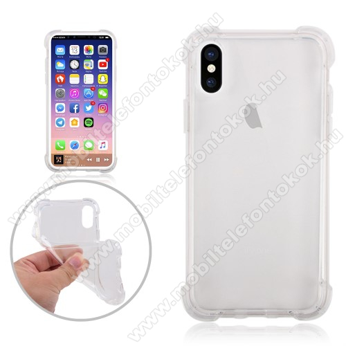 APPLE iPhone XS Szilikon védő tok / hátlap - ÁTLÁTSZÓ - ERŐS VÉDELEM! - APPLE iPhone X / APPLE iPhone XS