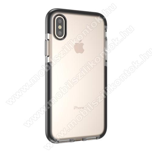 Szilikon védő tok / hátlap - ÁTLÁTSZÓ / FEKETE - APPLE iPhone X / APPLE iPhone XS