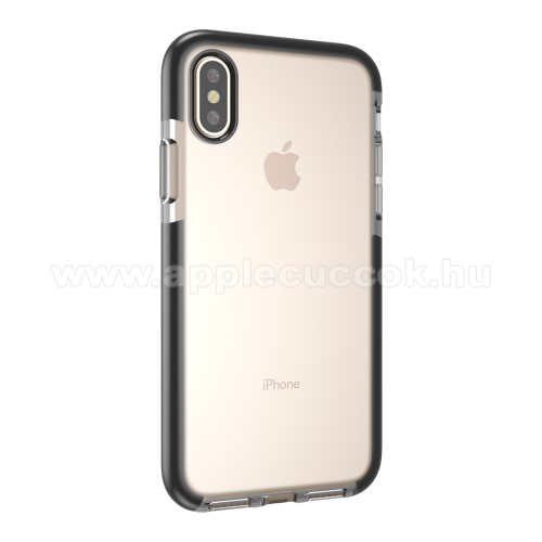 Szilikon védő tok / hátlap - ÁTLÁTSZÓ / FEKETE - APPLE iPhone X / APPLE iPhone XS