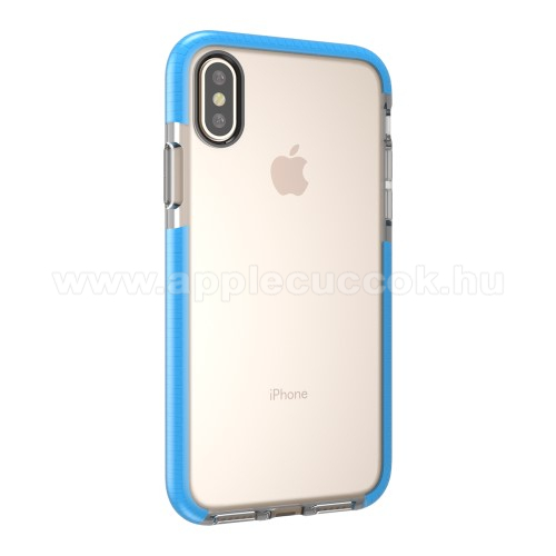 Szilikon védő tok / hátlap - ÁTLÁTSZÓ / KÉK - APPLE iPhone X / APPLE iPhone XS