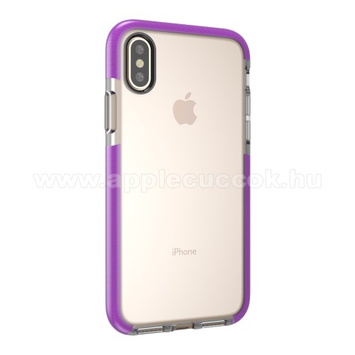 Szilikon védő tok / hátlap - ÁTLÁTSZÓ / LILA - APPLE iPhone X / APPLE iPhone XS