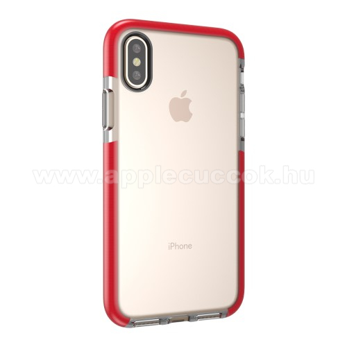 Szilikon védő tok / hátlap - ÁTLÁTSZÓ / PIROS - APPLE iPhone X / APPLE iPhone XS