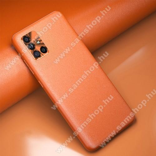 Szilikon védő tok / hátlap - BŐRREL BEVONT MINTÁS - NARANCS - SAMSUNG Galaxy A51 (SM-A515F)