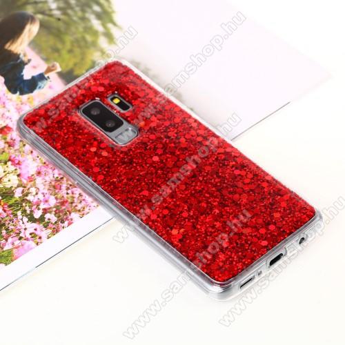 Szilikon védő tok / hátlap - csillogó, flitteres hátlap - PIROS - SAMSUNG SM-G965 Galaxy S9+