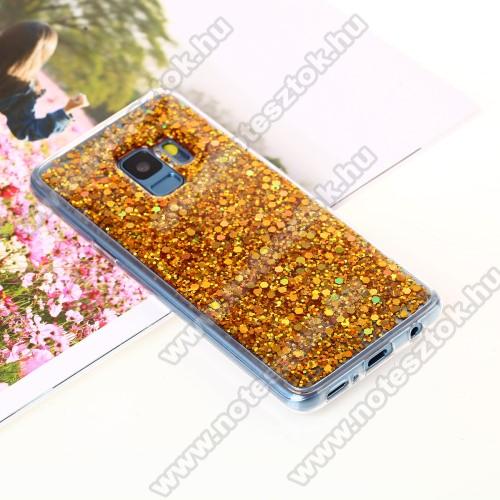 Szilikon védő tok / hátlap - csillogó, flitteres hátlap - ARANY - SAMSUNG SM-G960 Galaxy S9
