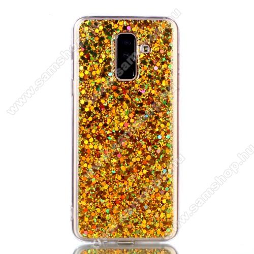 Szilikon védő tok / hátlap - csillogó, flitteres hátlap - ARANY - SAMSUNG SM-A605G Galaxy A6 Plus (2018)
