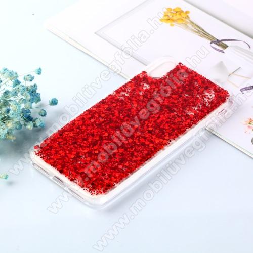 Szilikon védő tok / hátlap - csillogó, flitteres hátlap - PIROS - APPLE iPhone XS Max