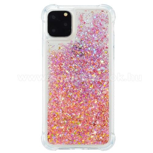 Szilikon védő tok / hátlap - csillogó, liquid folyadék, erősített sarkok - NARANCSSÁRGA - APPLE iPhone 12 mini