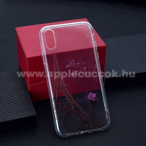 Szilikon védő tok / hátlap - EIFFEL TORONY / BICIKLI MINTÁS - APPLE iPhone Xr