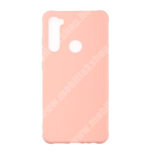 Szilikon védő tok / hátlap - ERŐSÍTETT SARKOKKAL - RÓZSASZÍN - Xiaomi Redmi Note 8