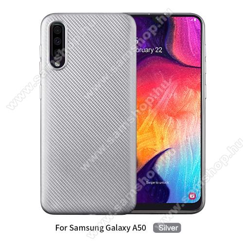 Szilikon védő tok / hátlap - EZÜST - KARBON MINTÁS - SAMSUNG SM-A307F Galaxy A30s / SAMSUNG SM-A505F Galaxy A50 / SAMSUNG Galaxy A50s