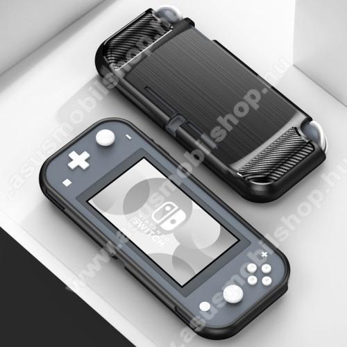 Szilikon védő tok / hátlap - FEKETE - karbon mintás - Nintendo Switch Lite