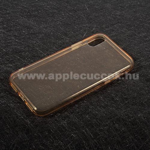 Szilikon védő tok / hátlap - FÉNYES - ARANY - APPLE iPhone X / APPLE iPhone XS