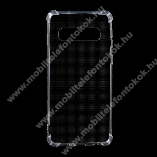 Szilikon védő tok / hátlap - FÉNYES - ÁTLÁTSZÓ - erősített sarkok - SAMSUNG SM-G973F Galaxy S10
