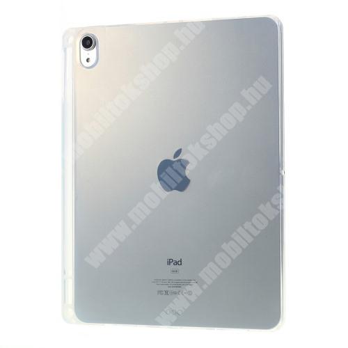 Szilikon védő tok / hátlap - FÉNYES - ÁTLÁTSZÓ - erősített sarkok, ceruzatartó - ERŐS VÉDELEM! - APPLE iPad 10.2 (7th Generation)