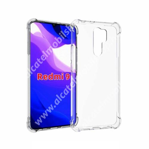 Szilikon védő tok / hátlap - FÉNYES - ÁTLÁTSZÓ - erősített sarkok - Xiaomi Redmi 9
