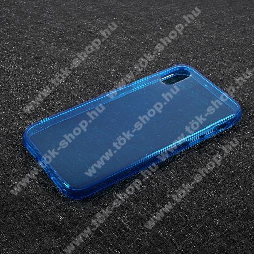 Szilikon védő tok / hátlap - FÉNYES - KÉK - APPLE iPhone X / APPLE iPhone XS