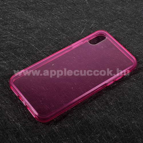 Szilikon védő tok / hátlap - FÉNYES - MAGENTA - APPLE iPhone X / APPLE iPhone XS