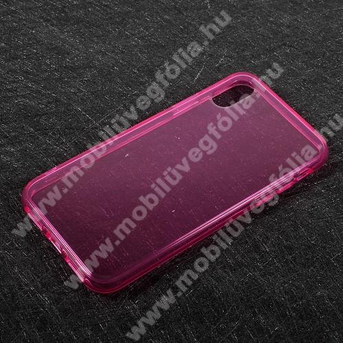 Szilikon védő tok / hátlap - FÉNYES - MAGENTA - APPLE iPhone X / APPLE iPhone XS