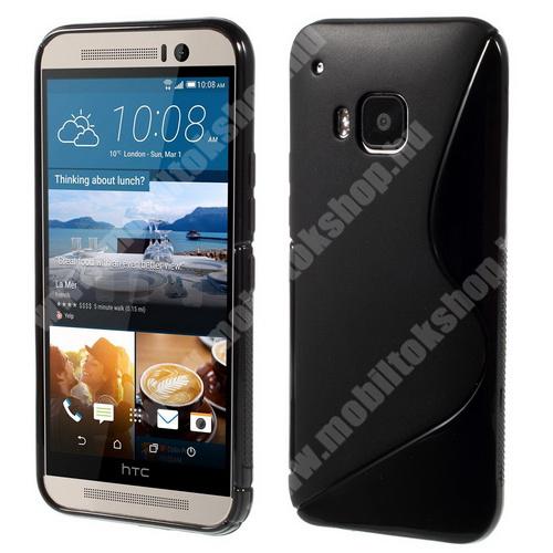 Szilikon védő tok / hátlap - FÉNYES / MATT - FEKETE - HTC One M9 (Hima)