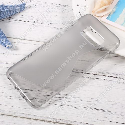 Szilikon védő tok / hátlap - FÉNYES / MATT - SZÜRKE - SAMSUNG SM-G950 Galaxy S8