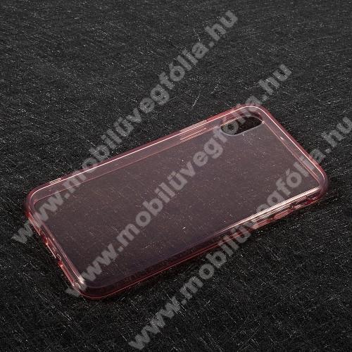 Szilikon védő tok / hátlap - FÉNYES - RÓZSASZÍN - APPLE iPhone X / APPLE iPhone XS