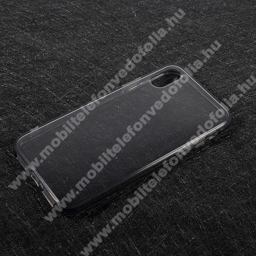 Szilikon védő tok / hátlap - FÉNYES - SZÜRKE - APPLE iPhone X / APPLE iPhone XS