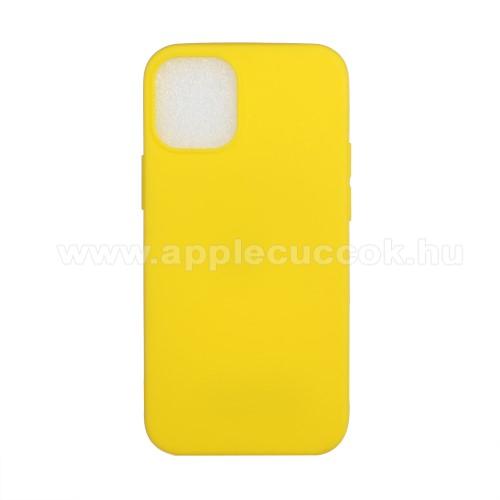 Szilikon védő tok / hátlap - FLEXI - CITROMSÁRGA - APPLE iPhone 12 mini