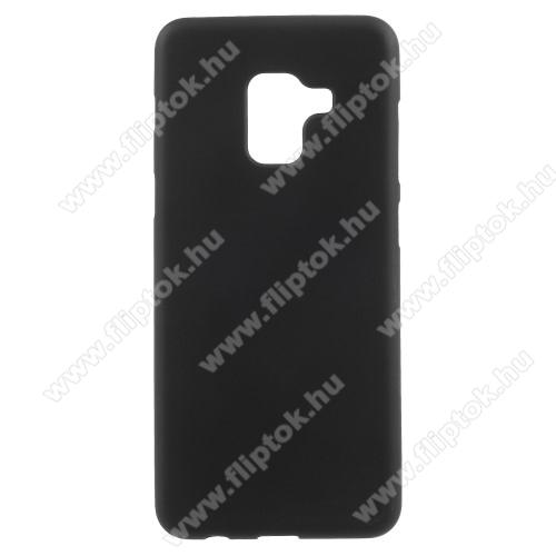 Szilikon védő tok / hátlap - FLEXI - FEKETE - SAMSUNG SM-A730F Galaxy A8 Plus (2018)