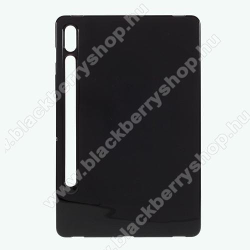 Szilikon védő tok / hátlap - FLEXI - FEKETE - SAMSUNG Galaxy Tab S7 (SM-T870/T875/T876B)