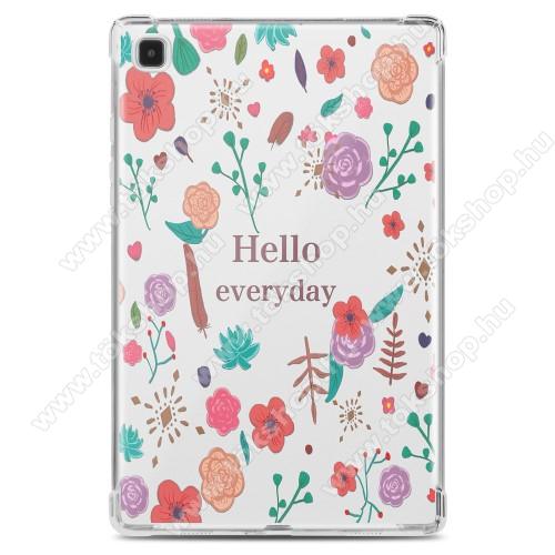 Szilikon védő tok / hátlap - Hello Everyday / VIRÁG MINTÁS - ÁTLÁTSZÓ - erősített sarkok, ERŐS VÉDELEM! - SAMSUNG Galaxy Tab A7 10.4 (2020) (SM-T500/SM-T505)