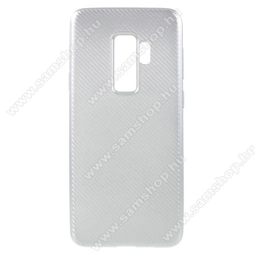 Szilikon védő tok / hátlap - karbon mintás - EZÜST - SAMSUNG SM-G965 Galaxy S9+