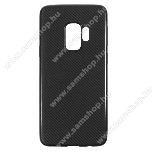 Szilikon védő tok / hátlap - karbon mintás - FEKETE - SAMSUNG SM-G960 Galaxy S9