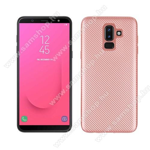 Szilikon védő tok / hátlap - karbon mintás - ROSE GOLD - SAMSUNG Galaxy J8 (2018)