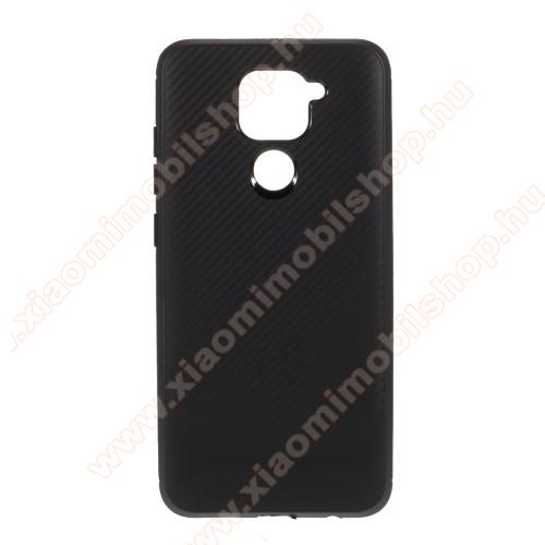 Szilikon védő tok / hátlap - karbon mintás - FEKETE - Xiaomi Redmi Note 9 / Xiaomi Redmi 10X 4G
