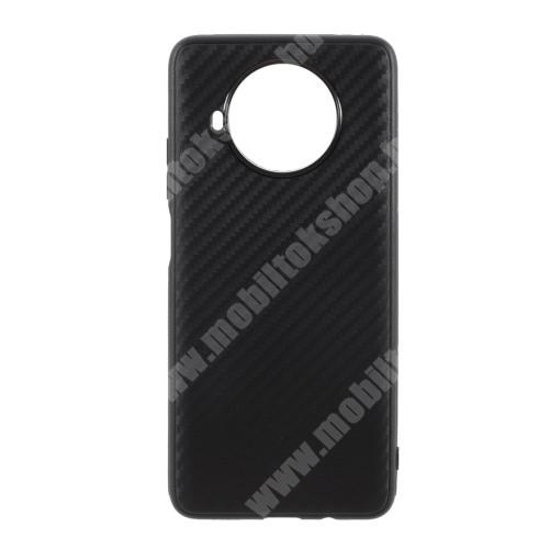Szilikon védő tok / hátlap - karbon mintás - FEKETE - Xiaomi Mi 10T Lite 5G / Redmi Note 9 Pro 5G / Mi 10i 5G