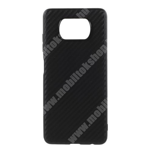 Szilikon védő tok / hátlap - karbon mintás - FEKETE - Xiaomi Poco X3 / Poco X3 NFC