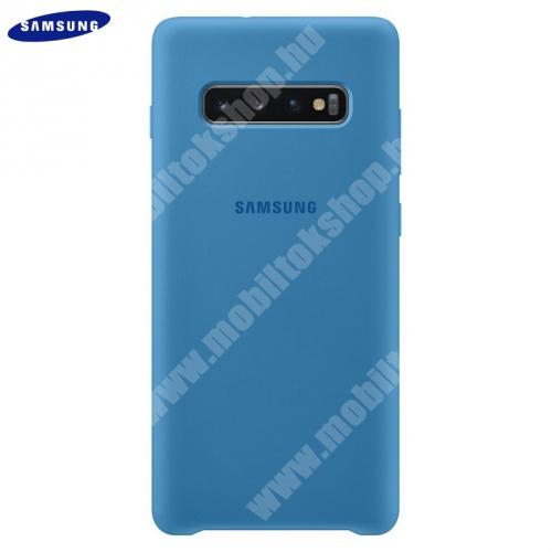 Szilikon védő tok / hátlap - KÉK - EF-PG975TLEGWW - SAMSUNG Galaxy S10 Plus (SM-G975) - GYÁRI