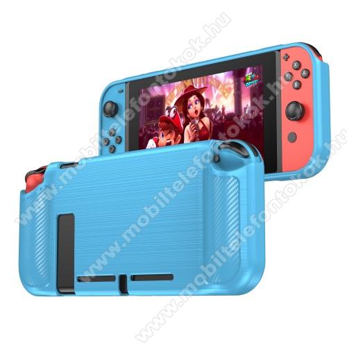 Szilikon védő tok / hátlap - KÉK - karbon mintás - Nintendo Switch Lite