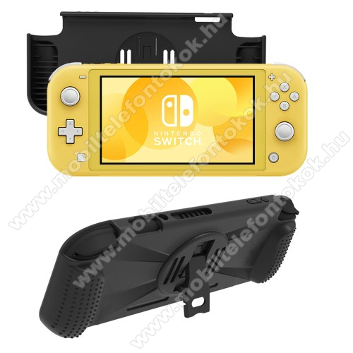 Szilikon védő tok / hátlap - kitámasztható - FEKETE - Nintendo Switch Lite