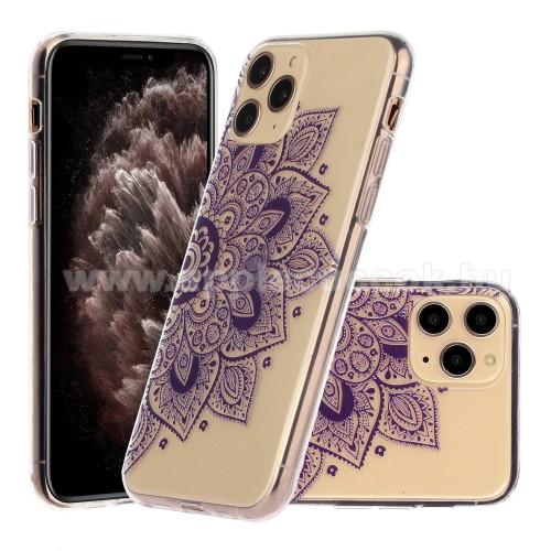 Szilikon védő tok / hátlap - LILA MANDALA VIRÁG MINTÁS - ÁTLÁTSZÓ - APPLE iPhone 11 Pro