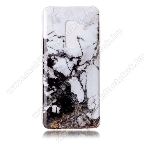 Szilikon védő tok / hátlap - MÁRVÁNY MINTÁS - FEKETE / FEHÉR - SAMSUNG SM-G965 Galaxy S9+